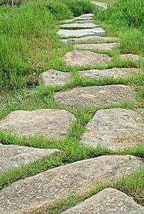 草丛间大石块铺成的小路
