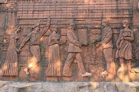 一群人物砖雕