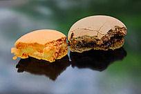 法国西点香橙、巧克力马卡龙剖面图