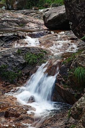 三溪峡谷小草与瀑布