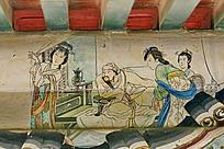 成吉思汗和三仕女帘子饮酒