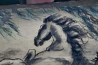 水墨马匹马鬃柳树黑白