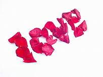 红色花瓣摆放的love图片