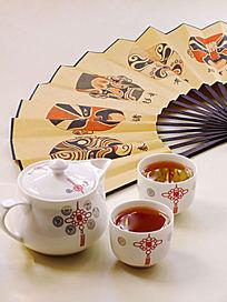 茶壶茶杯画扇脸谱图片