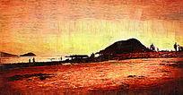 日出美景油画