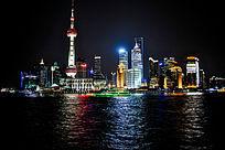 上海外滩黄浦江东方明珠夜景
