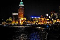 上海外滩黄浦江高楼大厦夜景