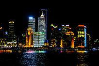 上海外滩黄浦江高楼大厦夜景灯光
