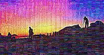 山坡日出油画
