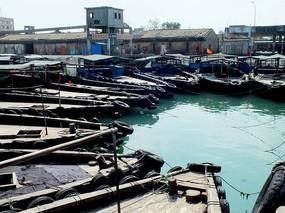 休鱼期渔业船舶停靠在鱼港码头的图片
