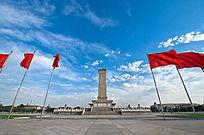 北京天安门广场人民英雄纪念碑红旗飘