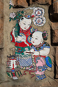 两个儿童岩石年画