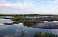 原生态湿地水面倒映蓝天白云