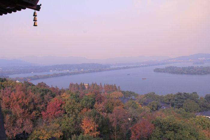夕阳下的西湖风光图片