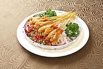 铁板烧串虾