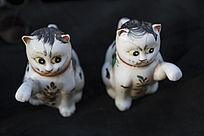 两只花猫陶瓷雕塑