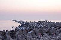 海堤日出时刻风光
