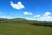 西藏蓝天大朵白云大草原大气山川