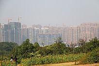 在山顶上的长沙优美的城市建筑风景