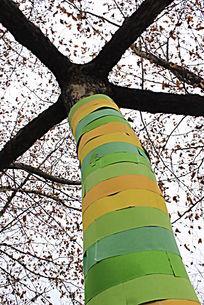 彩条装饰的树