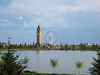 满洲里湖畔欧式塔楼
