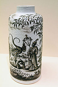 欧洲绘中国风格图案花瓶