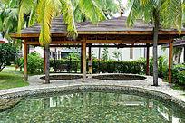 室外游泳池木亭