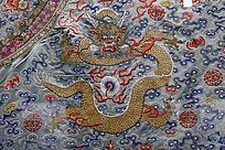 豆青缎蟒袍(局部图案)