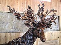 民间艺术品根雕——驯鹿