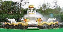 深圳民俗村 双龙雕塑喷泉