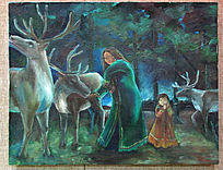 已故女画家柳芭绘画作品