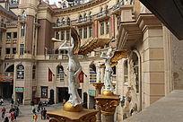 欧式风格建筑和雕塑