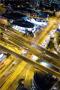 俯视墨尔本高架桥夜景