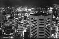 黑白色的悉尼夜景
