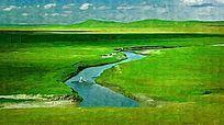 草原河流风景
