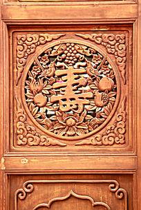 红木雕刻寿字图案花纹