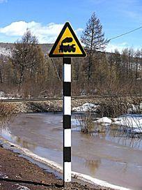 铁路道口指示牌
