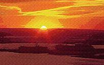 海上日落风景油画