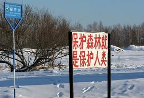 额尔古纳村庄保护森林标语牌