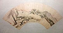 李世倬《山村雪景图》