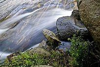 山石旁的河道水流