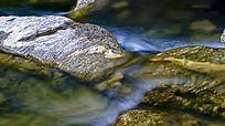山石中的溪水