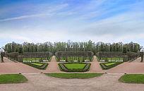 皇村普希金城叶卡捷琳娜宫的园林风光