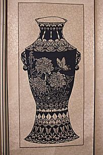 古典花瓶图案剪纸图片