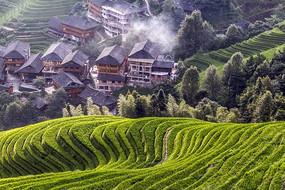 广西桂林龙脊梯田人文景观