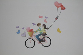 一对情侣踩单车贴纸