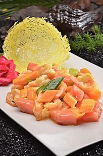 木瓜炒虾球
