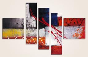 无框抽象油画三联画