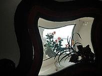 颐和园夹墙野菊玻璃窗绘