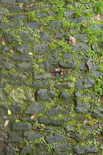 青苔石板路面花纹纹理